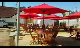 Meja cafe,meja payung jati,meja parasol,meja outdoor,kursi lipat