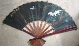 Antique Chines Largesize Hime Decor Fan ( Hand painted)