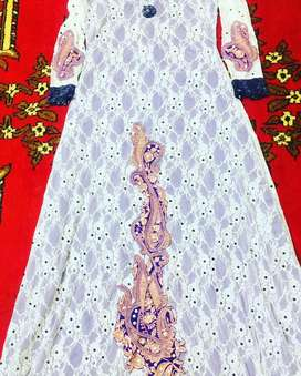 Beautiful White Maxi with tilla embroidery/Western style