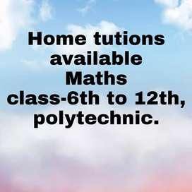 Home tutions available for maths from 6th to 12th