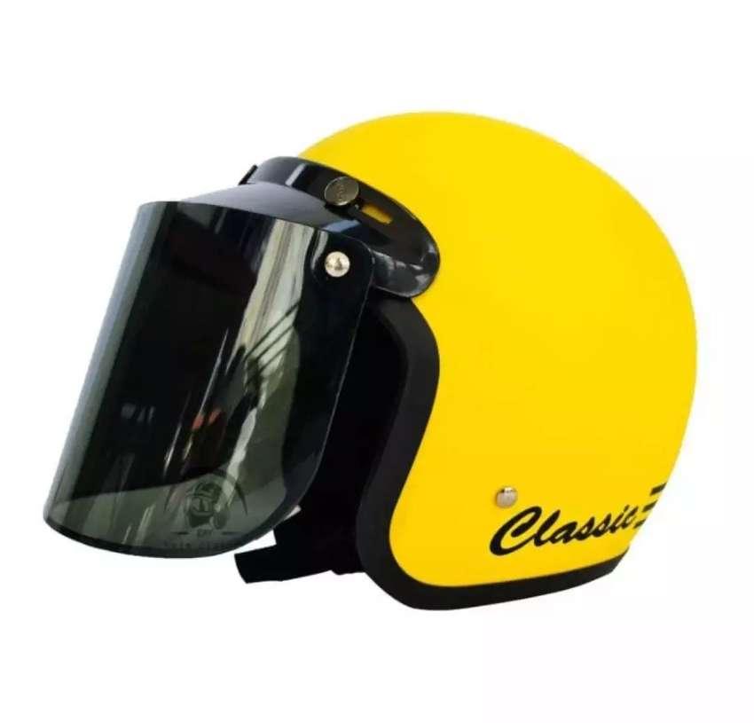 Helm Retro Bogo Classic Kuning Doff Kaca Flat
