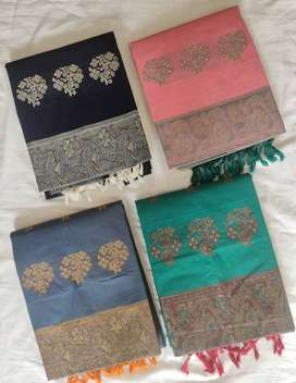 Full HandLoom cotton unstitched dress material (top+bottom+dupatta)
