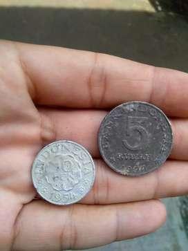 Jual uang kuno Indonesia 10 sen (1954), 5 rupiah (1974)