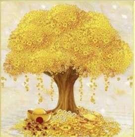 lukisan kanvas pohon uang yang indah