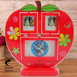 Table Clock Apple Shape with Glass Photo Frame