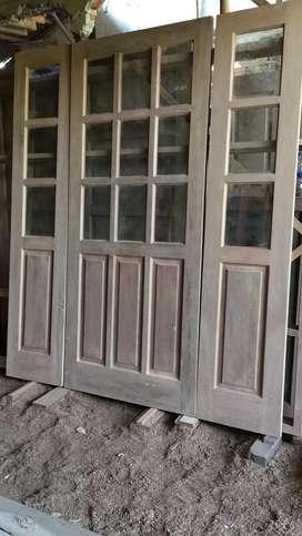 Jual kusen/pintu jendela dari kayu jati kamper meranti baru/seken