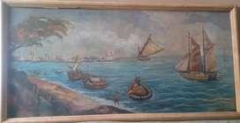 Lukisan Pemandangan Pantai Kompoel Sujatno