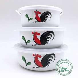 Mixing Bowl Set 3Pcs / Ayam Jago Seri 2 / Mangkok Enamel