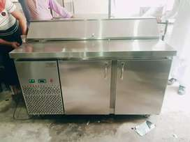 Pizza preparation table stainless steel non magnetic pizza oven
