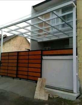 Kanopi desain elegant atap kaca minimalist