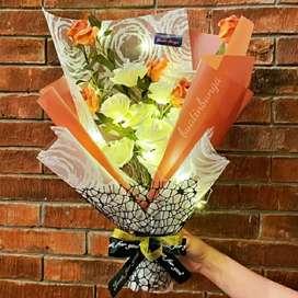 Buket bunga mawar artificial LED exclusive