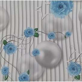 Wallpaper Garis Bulat Bunga Biru 45cm x 10m