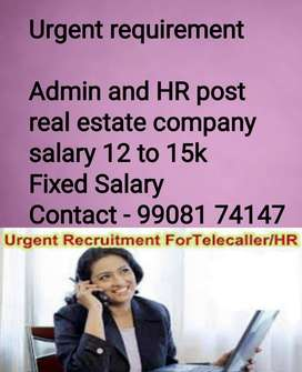 Urgent requirement HR and Admin and telecallersll