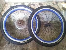 Whellset Sepeda lipat Velg copotan Lengkap Ban dan Sproket 7 speed