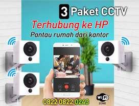 Paket 3 CCTV Kamera online kualitas Full HD smart ip wifi