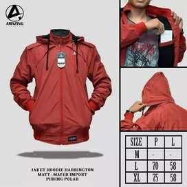 Jaket haringgton hoddie merah