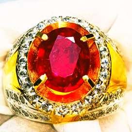 Natural Ruby Corundum Merah Merona Ring Perak