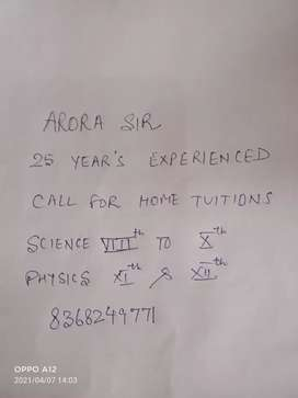 Tuition Physics and Science by Arora Sir