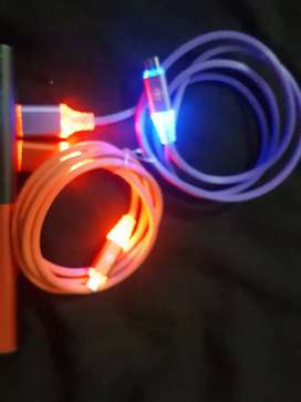 Branded data cable with LED lights