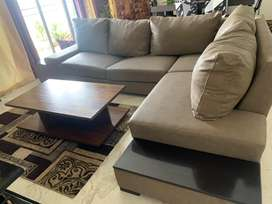 7 seater sofa and coffee table(Brown in color)
