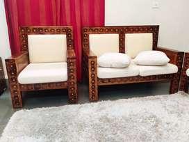 Origina  InSaraf Sheesham Wood and Brass Sofa Set Set