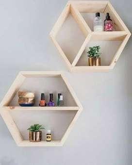 Rak Dinding Hexagonal Sekat - Natural Wood