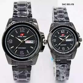 jam tangan couple swiss army black ada tanggal dan hari aktif