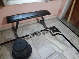 Gym weight 54 kg and flat bench