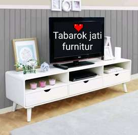 Meja tv retro kapsul warna moderen laci 3, P.150,bahan kayu jati asli