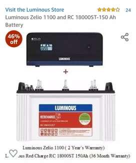 Luminous Tubular Battery & Luminous zelio 1100 pure sine wave Invertor