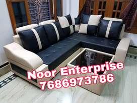 Cream an black colour leatherite combination L shape sofa