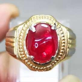 Cincin Batu Mulia Permata Merah Delima Ruby Bagus Original