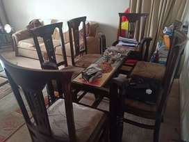 6 chair Dining table and 5 seater sofa set