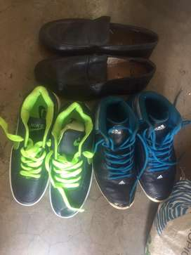 Adidas, Nike and Clark's Choes