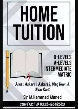 Home Tutor/Online Tutor for A-Level, O-Level, F.Sc, 5th to Matric