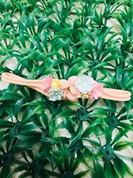 Headband flower peach nylon (newborn)