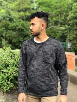 Sweater Abu Hitam Cowok Kece