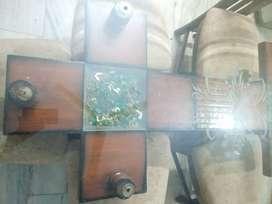 Teak wood glass top 6 chair teak wood dining table