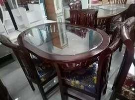 Meja makan kayu semi jati 4 kursi meja oval siap cod