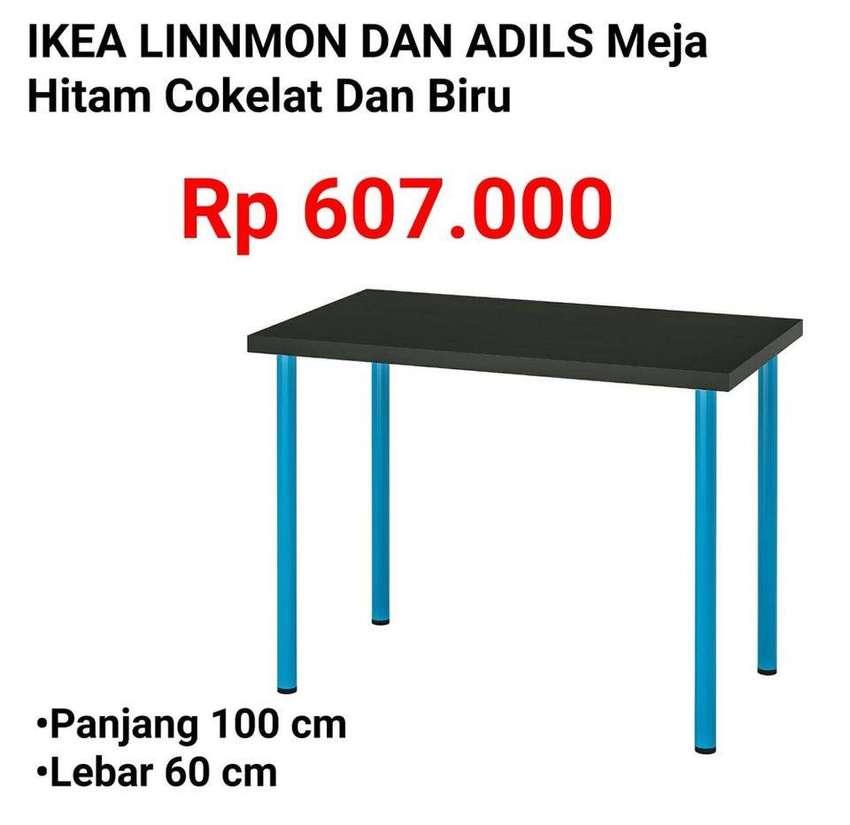 IKEA 370 LINNMON & ADILS 100x60 Meja Serbaguna Hitam Kaki Biru