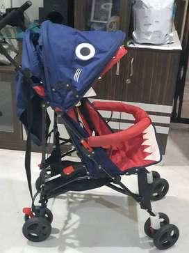 Babyhug Lil Monsta Stroller With Adjustable Leg Rest - Red & Blue