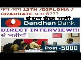 Receptionist cum CCE jobs in Bandhan Bank