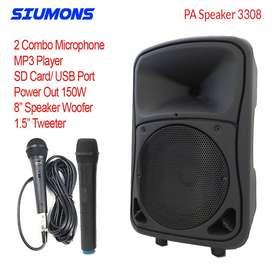 PA Speaker Mungil Power Besar 2 Mic Wireless MP3 FM USB/SD
