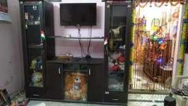 Tv shelf with cupboard