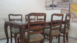 Teak wood Dining table and 6 chairs Antique