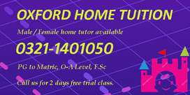 Professional Male / Female home tutor in Lahore for all classes.