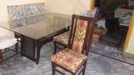 Dining Table with 6 chair's & glass