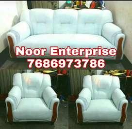 White leatherite sofa set living room sofa with wooden chapos