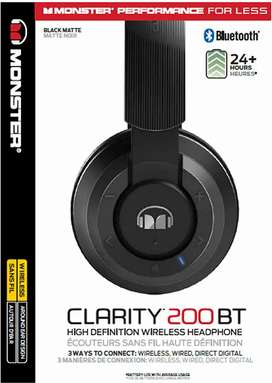 Monster Clarity BT200 HD On-Ear Bluetooth Headphones 'Product of USA