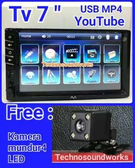 Tv mobil 7 in YouTube usb + kamera for paket sound audio tape 2din